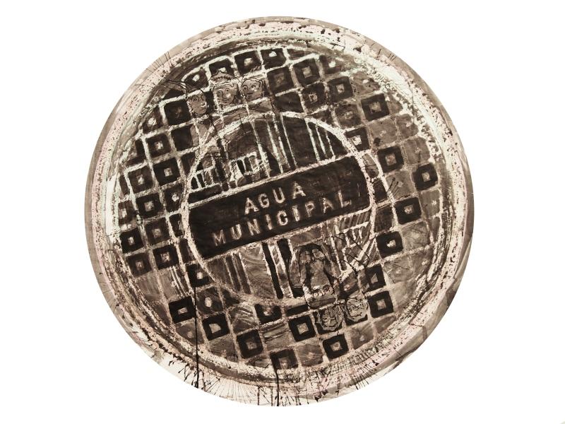 Agua municipal / BCN 2014/ceras y tinta china sobre papel 80x80 cm