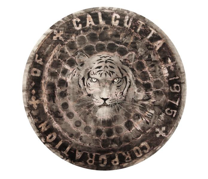 Calcuta bengal tiger / Calcuta 2014/ceras y tinta china sobre papel 80x80 cm