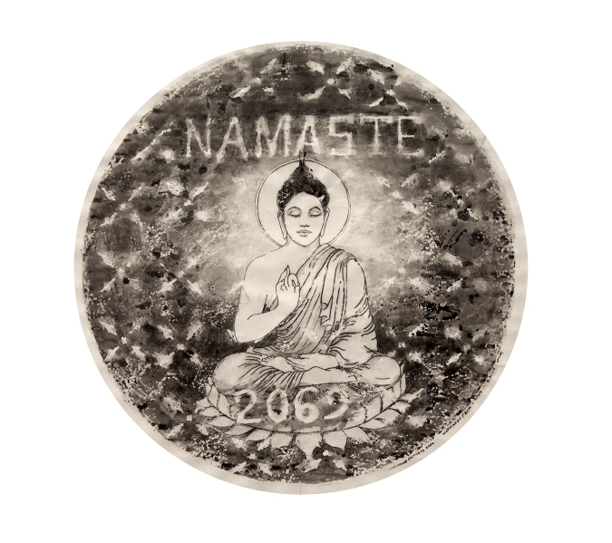 Namaste 2069 / Katmandú 2014/ceras y tinta china sobre papel 80x80 cm