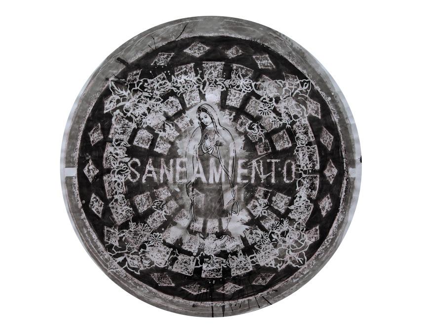 Saneamiento 2014/ceras y tinta china sobre papel 80x80 cm