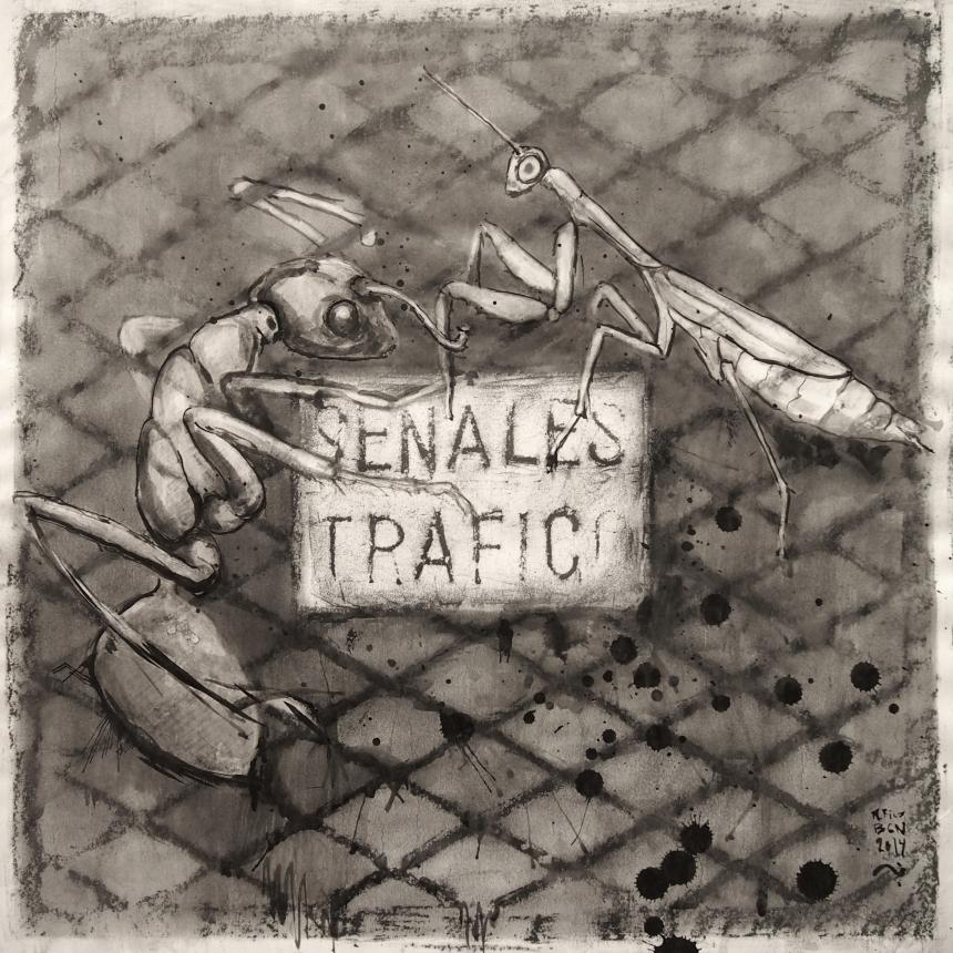 Señales tráfico (hormiga /mantis) / BCN 2014/grafito, ceras y tinta china sobre papel 80x80 cm