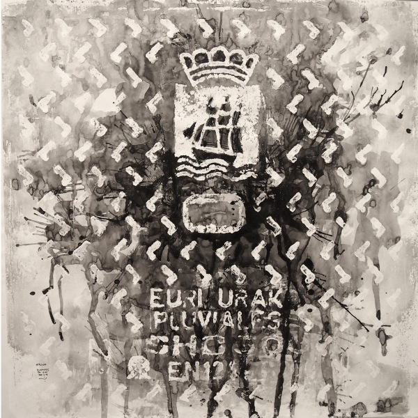 Euri urak (pluviales) / Donosti 2014/ceras y tinta china sobre papel 50x50 cm